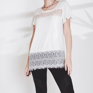 Deletta Anthropologie Linen and Lace White Top